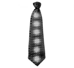 Krawaty - Czarny krawat świecący, cekiny