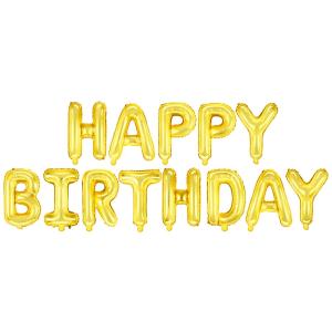 """Girlandy napisy z balonów na powietrze - Balonowy napis """"Happy Birthday"""", złoty"""