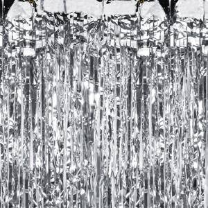 Kurtyny foliowe - Kurtyna imprezowa srebrna / 100x250 cm