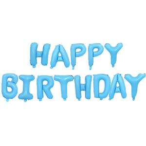 """Girlandy napisy z balonów na powietrze - Balonowy napis """"Happy Birthday"""", błękitny"""