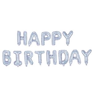 """Girlandy napisy z balonów na powietrze - Balonowy napis """"Happy Birthday"""", srebrny holograficzny"""