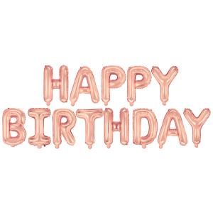 """Girlandy napisy z balonów na powietrze - Balonowy napis """"Happy Birthday"""", różowe złoto"""