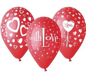 """Balony lateksowe w serduszka - Balony lateksowe """"With Love"""""""