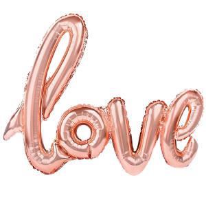 """Napisy z balonów foliowych na powietrze - Balon foliowy napis """"Love"""", różowe złoto / 70x100 cm"""