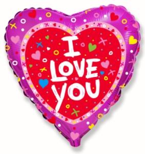 """Balony foliowe kształty z napisami - Balon foliowy 18"""" FX Serce """"I love you + konfetti"""" (niezapakowany)"""