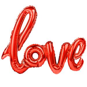 """Napisy z balonów foliowych na powietrze - Balon foliowy napis """"Love"""", czerwony / 70x100 cm"""