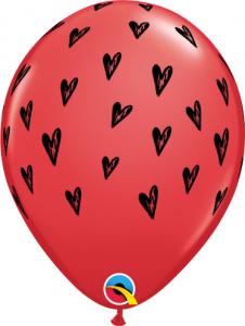 """Balony lateksowe w serduszka - Balon lateksowe 11"""" czerwone z czarnymi serduszkami"""