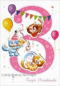 Kartki urodzinowe - Kartka z życzeniami na 3 urodziny / HM200-993