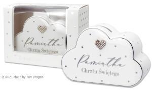 """Skarbonki różne - Skarbonka ceramiczna  """"Pamiątka Chrztu Świętego / Cloud"""