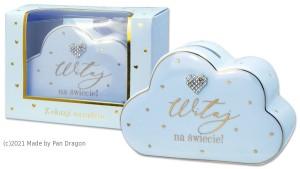 """Skarbonki różne - Skarbonka ceramiczna  """"Witaj na Świecie"""" dla chłopca / Cloud"""