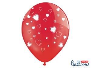 Balony lateksowe w serduszka - Balony lateksowe czerwone w białe Serduszka / SB14P-228-099-007J-6