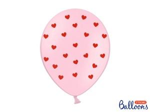 Balony lateksowe w serduszka - Balony różowe w czerwone serduszka