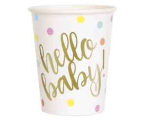 """Kubeczki z napisami papierowe - Kubeczki papierowe """"Hello Baby"""""""