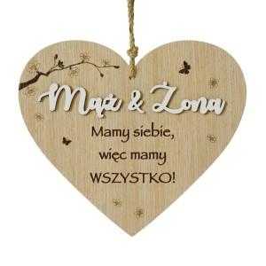 """Tabliczki z dedykacją do powieszenia - Drewniane serce """"Mąż & Żona"""""""