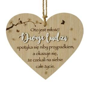 """Tabliczki z dedykacją do powieszenia - Drewniane serce """"Dwoje ludzi"""