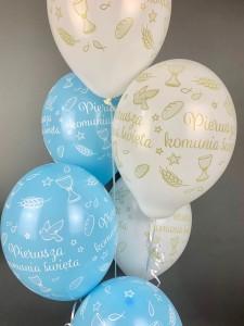 Balony komunijne - Balony Komunijne lateksowe na I Komunię Świętą, błękit-biel