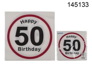 Serwetki bibułowe cyfry i liczby - Serwetki znak zakazu na 50 urodziny / 33x33 cm