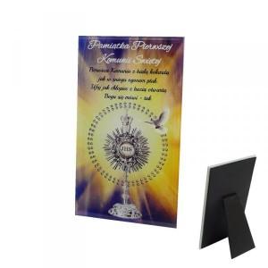 Tabliczki z dedykacją do postawienia - Ramka szklana Pamiątka Pierwszej Komunii Świętej