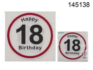 Serwetki bibułowe cyfry i liczby - Serwetki znak zakazu na 18 urodziny / 33x33 cm