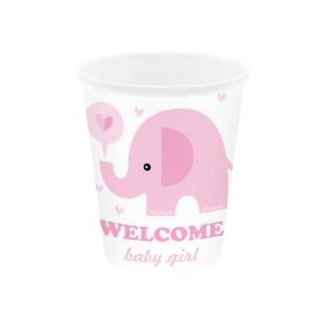 """Kubeczki z napisami papierowe - Kubeczki na Baby Shower """"Różowy słonik"""""""