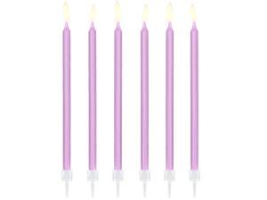Świeczki proste - Świeczki urodzinowe na tort, liliowe