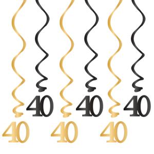 Spiralki wiszące - Dekoracja na 40 urodziny - świderki