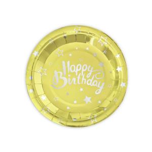 """Talerzyki z napisami - Złote talerzyki papierowe """"Happy Birthday"""" na urodziny / 18 cm"""