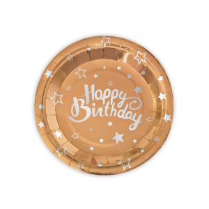 """Talerzyki z napisami - Różowe złoto talerzyki papierowe """"Happy Birthday"""" na urodziny / 18 cm"""