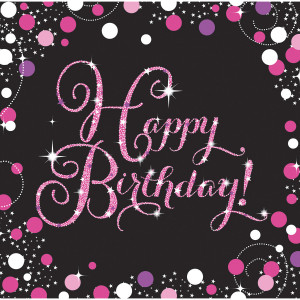 """Serwetki papierowe z napisami - Serwetki papierowe """"Happy Birthday"""" Sparkling Celebration, różowe  / 33x33cm"""