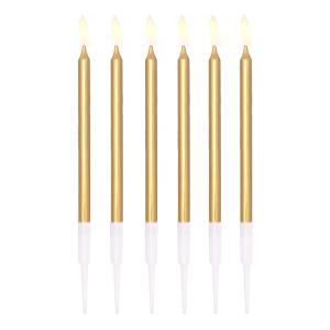 Świeczki proste - Złote świeczki na tort / 13 cm