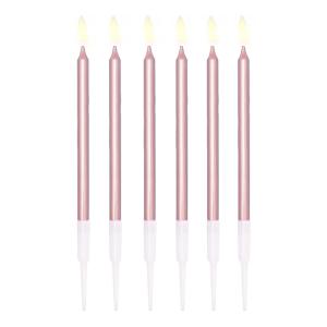 Świeczki proste - Rose Gold świeczki na tort / 13 cm