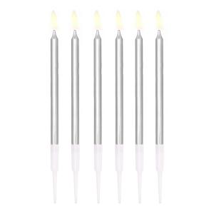 Świeczki proste - Srebrne świeczki na tort / 13 cm