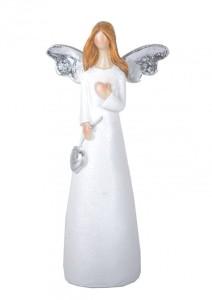 Aniołki gipsowe - Anioł z sercem / 8x4x17.5 cm