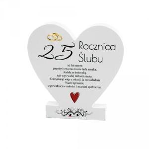 """Tabliczki z dedykacją do postawienia - Drewniana tabliczka Serce """"25 Rocznica Ślubu"""""""