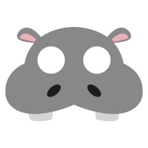 Maski Zwierzęta - Maska filcowa Hipopotam