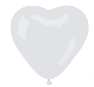 Balony lateksowe o nietypowych kształtach - Balony lateksowe CR6 białe Serca