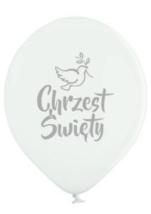Balony na Chrzest Święty - Białe balony ze srebrnym nadrukiem Chrzest Święty