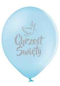 Balony na Chrzest Święty - Błękitne balony ze srebrnym nadrukiem Chrzest Święty