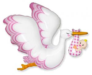 """Balony lateksowe o nietypowych kształtach - Balon foliowy 24"""" Bocian """"Baby Girl"""" (niezapakowany)"""